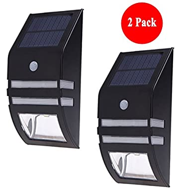 Solar Light, Nekteck Wireless Bright Solar Powered Motion Sensor Light, Street Light, Outdoor Light Security Light, For Patio Deck Yard Garden Home Driveway Stairs Outside Wall Pathway (2 Pack, Black)