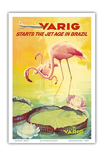 Brazil - Varig starts the Jet Age in Brazil - Pink Flamingos (Flamingo Rosados) wade in a Lily Pond - Variq Airlines - Vintage Airline Travel Poster c.1970 - Master Art Print - 12in x 18in