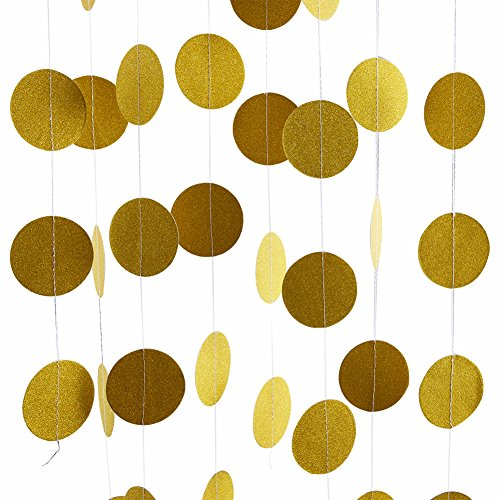 Threemart Glitter Party Decorations Garland,Gold White Pink Circle Paper Dots Hanging for Party decor 26 Feet Long (gold)