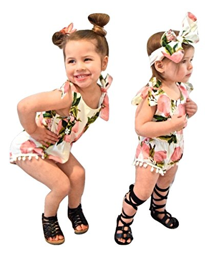 Girls Lemon Romper & Headband Outfit - Boutique Kids Toddler & Newborn Baby Girl Clothes (Medium 9-12 Months)