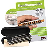 CASCHA HH 2058 Master Edition Blues Harmonica Harmonica in C Major with Soft Case and Cleaning Cloth Set with text book Black
