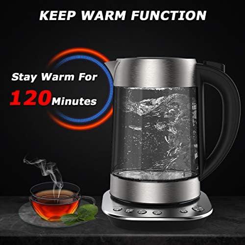 Bouilloire Électrique Thermostat Réglable, 1,7L, 2200W, Bouilloire Électriques en Verre avec Fonction Maintien au Chaud, Arrêt Automatique, sans BPA, Triple Système de Sécurité
