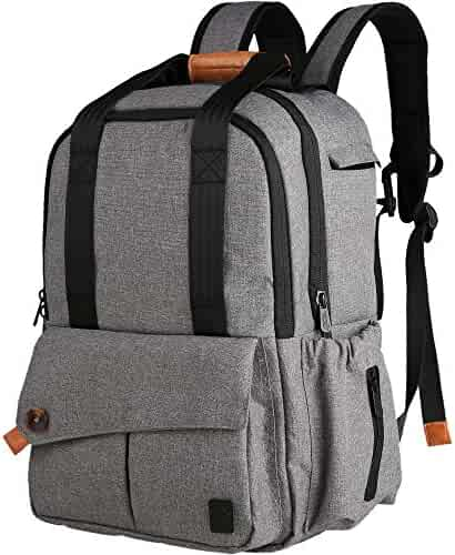 Ferlin Baby Diaper Bag Backpack with Changing Pad and Anti-Water Material for Both Mom & Dad (Grey-0723)