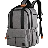Ferlin Multi-function Baby Diaper Nappy Bags Backpack with Changing Pad, Fashion Design with Anti-Water Material for Both Mom & Dad (Grey-0723) Image
