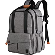 Ferlin Multi-function Large Baby Diaper Bag Backpack W/Insulated Pockets-Changing Pad, Stylish & Durable with Anti-Water Material(Gray-0723