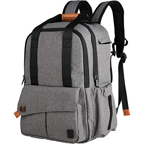 Ferlin Multi-function Large Baby Diaper Bag Backpack W/Insulated Pockets-Changing Pad, Stylish & Durable with Anti-Water Material(Gray-0723)