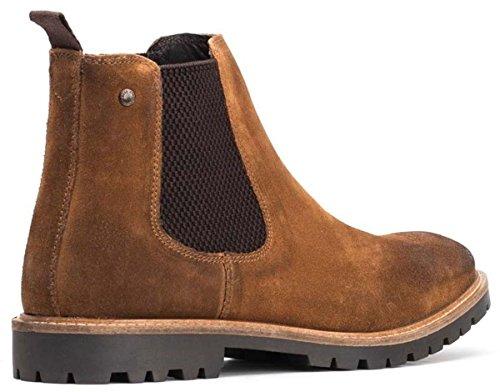 Base London Mens Turret Smart Suede Burnished Leather Chelsea Boots Cognac
