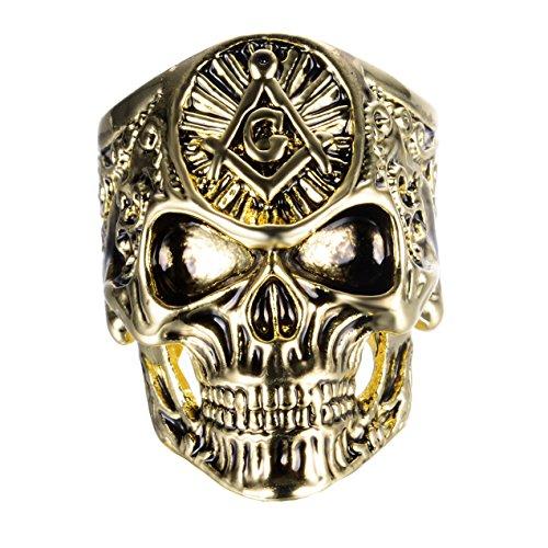SINLEO Men's Alloy Gold Gothic Masonic Skull Rings Freemason Punk Biker Band Size 12 - Lodge Sugar