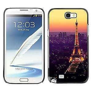 Be Good Phone Accessory // Dura Cáscara cubierta Protectora Caso Carcasa Funda de Protección para Samsung Note 2 N7100 // Tour De Purple Tower Paris Vibrant