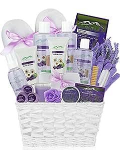 Premium Deluxe Bath & Body Gift Basket. Ultimate Large Spa Basket! #1 Spa Gift Basket for Women (Chamomile & Lavender Essential Oil)