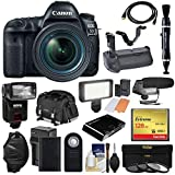 Canon EOS 5D Mark IV 4K Wi-Fi Digital SLR Camera & 24-70mm f/4L is USM Lens + 128GB CF Card + Battery & Charger + Grip + Case + Flash + LED Light + Mic Kit