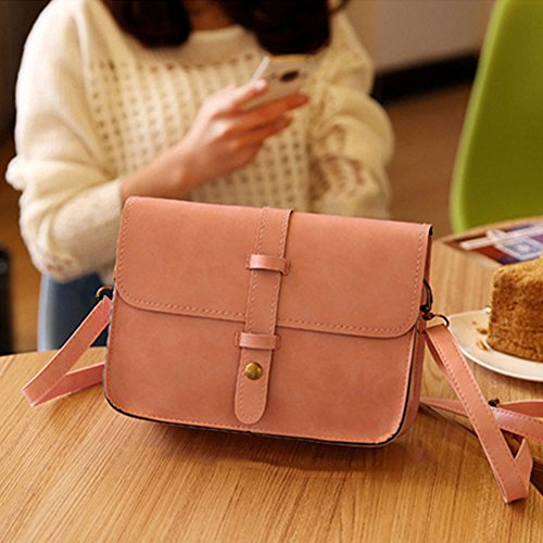Medium Button size Messenger dragonaur Women Brown Leather Bag Light Crossbody Faux Shoulder Pink Satchel Handbag qpvPTvawt