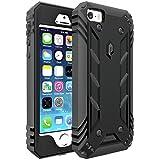 POETIC Revolution X-form Design Shock Resist Hybrid Back Case with Built-In Screen Protector for iPhone SE / 5S / 5 – Black/Dark Gray