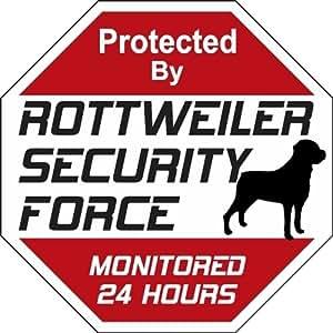 Rottweiler fuerza de seguridad señal de advertencia