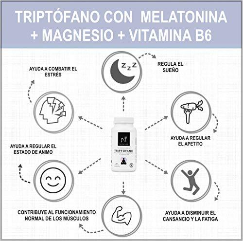 L-Triptófano + magnesio + melatonina + vitamina B6. Suplemento alimenticio a base de Triptófano concentrado (600mg) para regular el sueño, estado ...