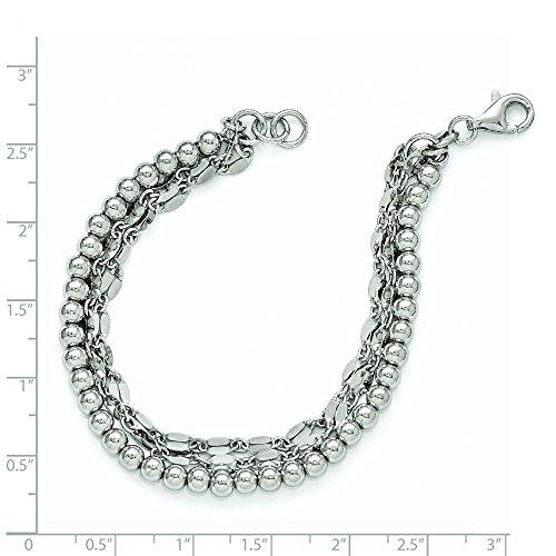 En argent sterling poli et trois brins de perles-Bracelet Femme-18cm
