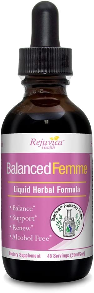 Balanced Femme – Herbal PMS, Menopause and Female Hormone Balance Support Support – All-Natural Liquid for 2X Absorption – Black Cohosh, Vitex, Dong Quai, Maca Root and More