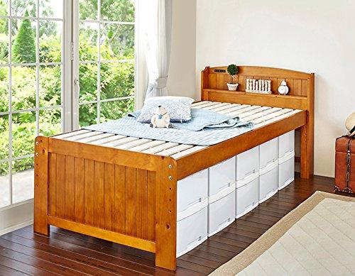 ベッド シングルベッド 高さ調節可能 宮付き コンセント付き すのこ 木製 ブラウン B079T4R3M5  ブラウン