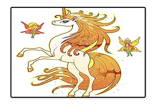 Printed Floor Rugs Exquisite Bright Hair Unicorn with Fairies Imaginary Legendary Creature Print Bath mat Non Slip Absorbent 4'x5'
