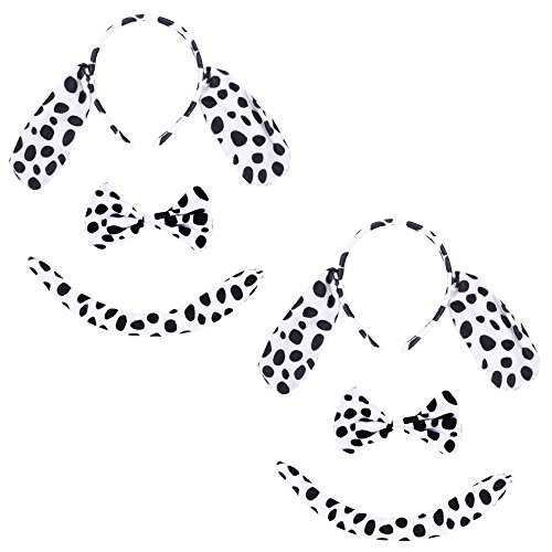 Christmas Headband Mouse Dalmatian Ears and Tail Set Kids Halloween Costume Kit -
