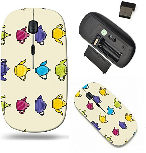 Liili Wireless Mouse Travel 2.4G Wireless Mice with USB Receiver, Click with 1000 DPI for notebook, pc, laptop, computer, mac book Set of cartoon style patterned teapots seamless background tile (Best Liili Teapots)