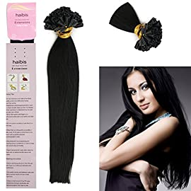 "Haibis Remy Straight Pre Bonded Nail U Tip Keratin Human Hair Extensions 1g/s 100s(18"",#01)"