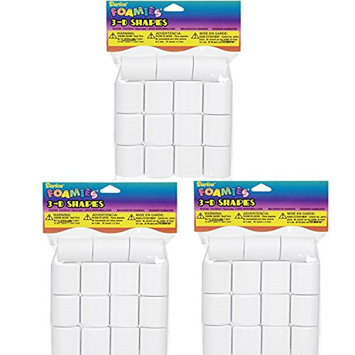 Darice 15-Piece Foam Marshmallow Shapes, 25mm by 30mm (3 Pack)