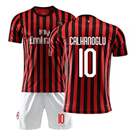 LLMM Jersey Soccer Maillot AC Milan Maillot Ronaldo 10# Jersey Adulte Enfants Costume À Manches Courtes + Shorts Football Uniforme,L~(Adult~70~75kg/170~175cm)