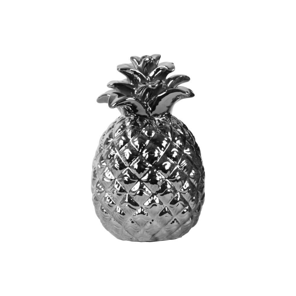 Silver Benzara BM182037 Pineapple Figurine with Embossed Design