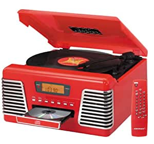 Crosley CR712 Autorama Turntable with CD Player and AM/FM Radio, Red (Discontinued by Manufacturer)