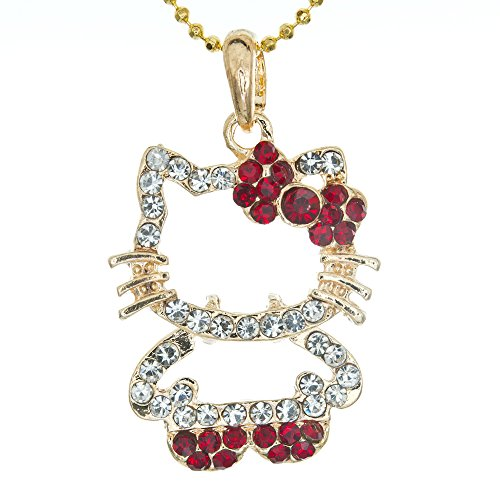 Hello Kitty Cat Bowknot January Garnet Birthstone Color Crystal Figure Pendant with necklace