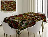 Nalagoo Unique Custom Cotton and Linen Blend Tablecloth Casino Decorations Doodles Style Art Bingo Excitement Checkers King Tambourine Vegas Tablecovers for Rectangle Tables, 60 x 40 inches