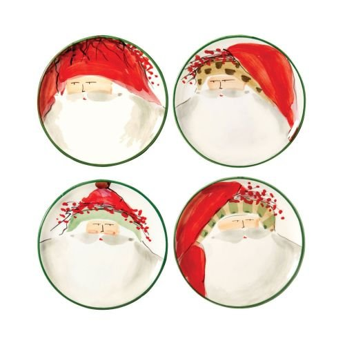 Vietri Old St. Nick Canape Plate, Christmas Themed Ceramic Stoneware, Set of 4 Assorted Designs
