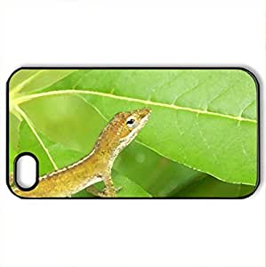 Anole Lizard - Case Cover for iPhone 4 and 4s (Reptiles Series, Watercolor style, Black)