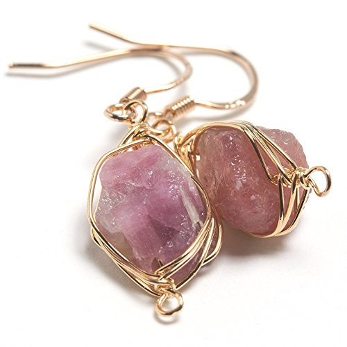 Pink Tourmaline Earrings - Scutum Craft 925 Sterling Silver Hook 14K Gold Plated Natural Pink Tourmaline Stone Herringbone Wire Wrap Earrings, Perfect Gifts for Best Friend