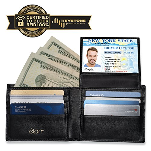 RFID WALLET FOR MEN - Credit Card Protector Against Electronic Theft - Genuine Leather Bifold with the Latest RFID Blocking Technology (Gold Logo)
