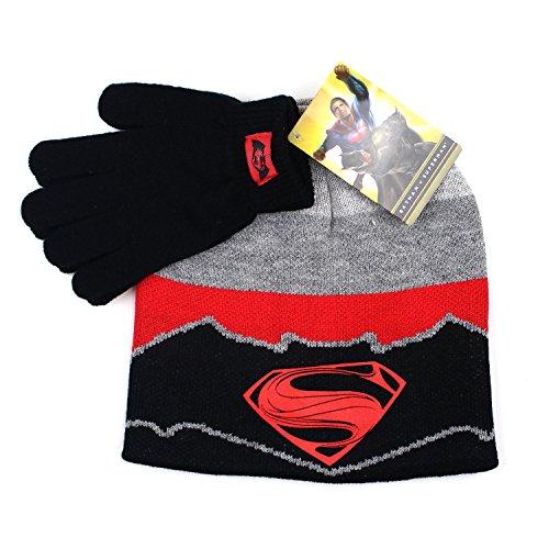 KIDS COMIC SUPERHERO LICENSED BEANIE BOYS WINTER HAT & GLOVE SETS (Superman Grey/Red)