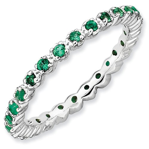 2.25mm Sterling Silver Stackable Expressions Rhodium Plated Created Emerald Eternity Ring - Size 7 from Stackable Expressions