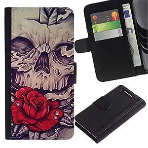 KingStore / Leather Etui en cuir / Sony Xperia Z1 Compact D5503 / Rose Red Skull Vignette Espada Roca