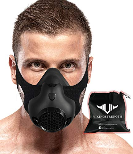 Vikingstrength New 24 Levels Training Workout Mask for Running Biking MMA Endurance with Adjustable Resistance, High Altitude Elevation Mask for Air Resistance Training (Improved Design)