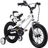 RoyalBaby BMX Freestyle Kids Bike, Boy's Bikes and Girl's Bikes with training wheels, Gifts for children, 14 inch wheels, White