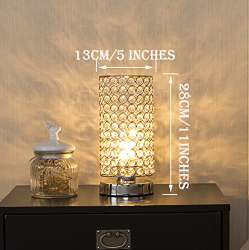 Glanzhaus Modern Decorative Bedside Desk Lamp Silver Crystal Table Lamps, Modren Sliver Lamp Shade for Living Room, Bedroom, Kids Room, Coffee Table, Bookcase
