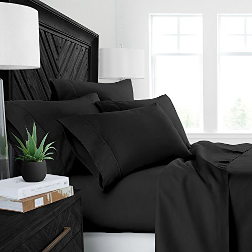 Sleep Restoration Luxury Bed Sheets with All-Natural Pure Aloe Vera Treatment - Eco-Friendly, Hypoallergenic 4-Piece Sheet Set Infused with Soothing/Moisturizing Aloe Vera - Queen - Black