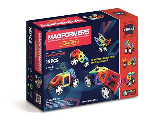 Magformers Vehicle Wow Set (16-pieces) Magnetic    Building      Blocks, Educational  Magnetic    Tiles Kit , Magnetic    Construction  STEM Toy Set includes wheels