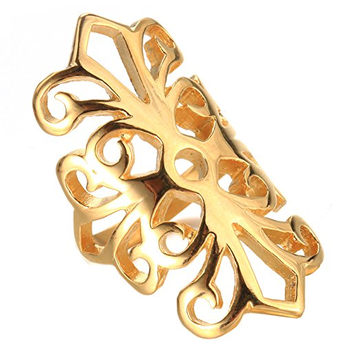 UNAPHYO Women's Gold Plated Stainless Steel Statement Finger Knuckle Ring Hollow Out Cross Flower Pattern Size 10 Out Flower Pattern