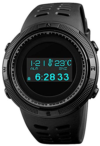 Digital Mens Sports Watch Electronic Military Multifunctional Pedometer Calories Compass OLED Display (Black)