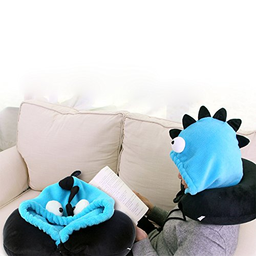 WDDH Portable U Shaped Neck Pillow Cartoon Animal Cap Hat Travel Hoodie Pillow for Car Office Airplane Men Women Kids (Blue)