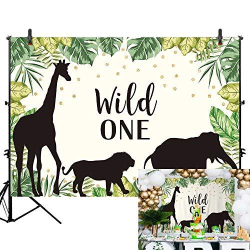 Allenjoy 7x5ft Wild One Theme Backdrop Safari Jungle Animals Theme Photography Background Baby Boy First 1st Birthday Party Banner Golden Dots Cake Table Decorations Photobooth Studio Props -