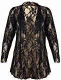 New Womens Plus Size Floral Pattern Lace Cardigan Long Sleeve Womens Waterfall Open Top Black Size 20
