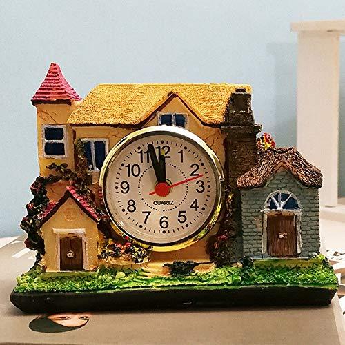 Wghz Resin Crafts Creative Villa Castle Alarm Clock Lazy Student Bedside Alarm Clock Home Bedroom Interior Desktop Ornaments,A ()